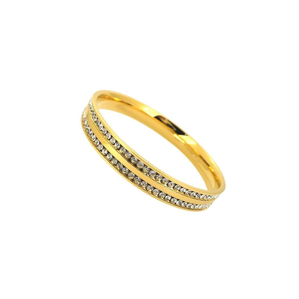 Yellow Stainless Steel Crystal Channel Bangle Bracelets Bevilles
