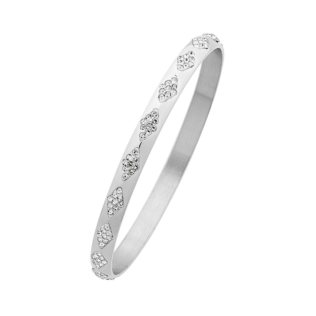 Stainless Steel Crystal Facet Bangle