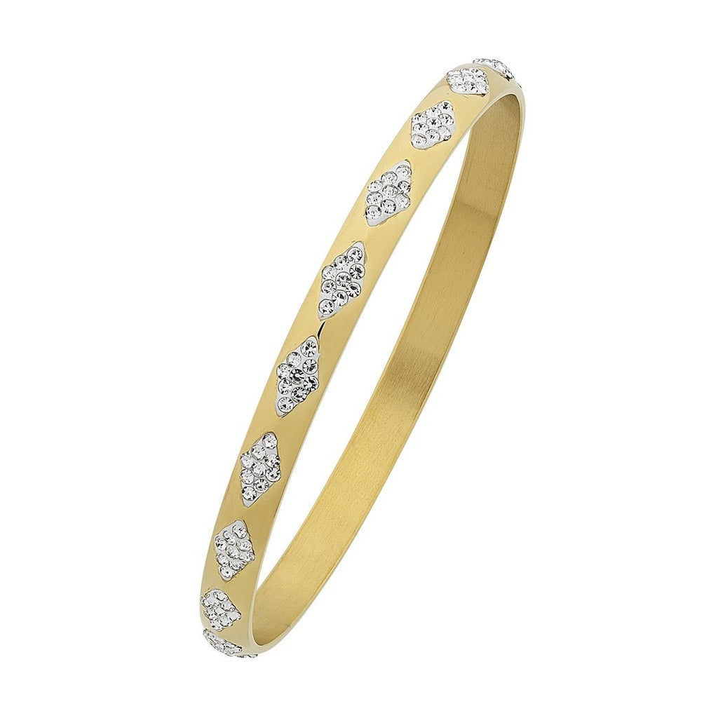 Stainless Steel Yellow Gold Crystal Facet Bangle