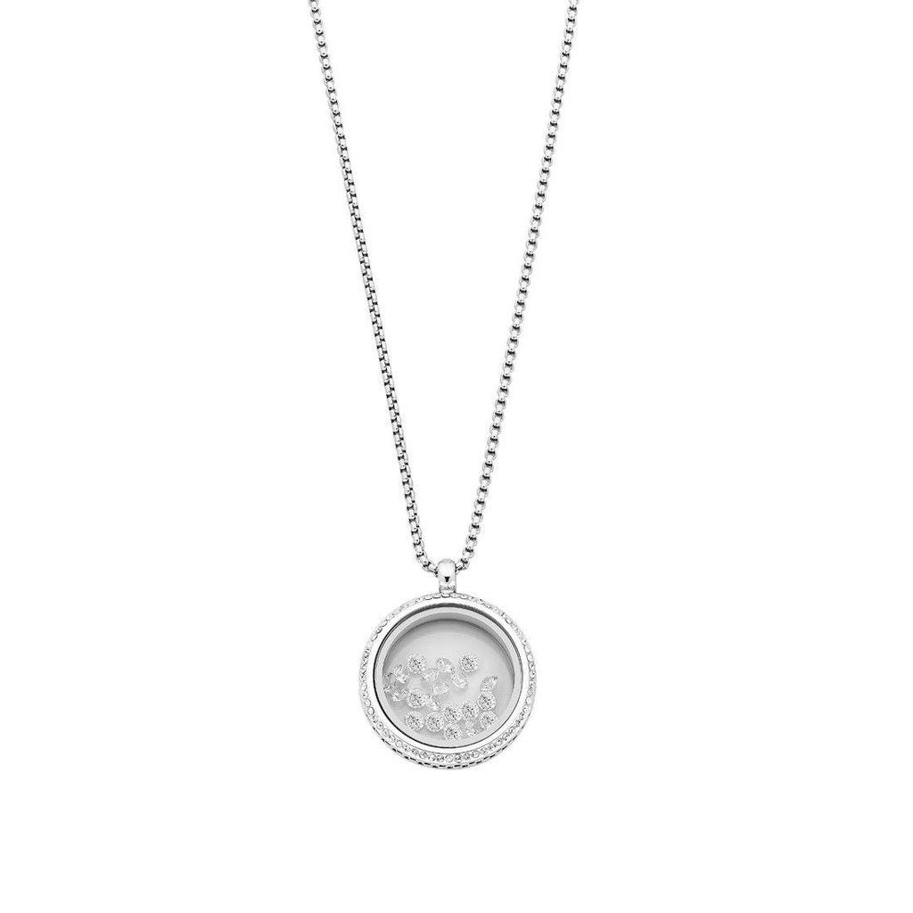 Stainless Steel Silver Necklace with Crystals in Locket Necklaces Bevilles