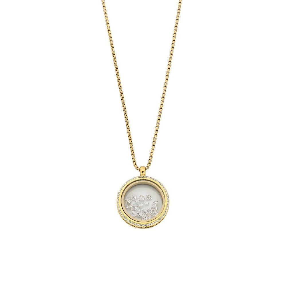 Stainless Steel Gold Necklace with Crystals in Locket Necklaces Bevilles