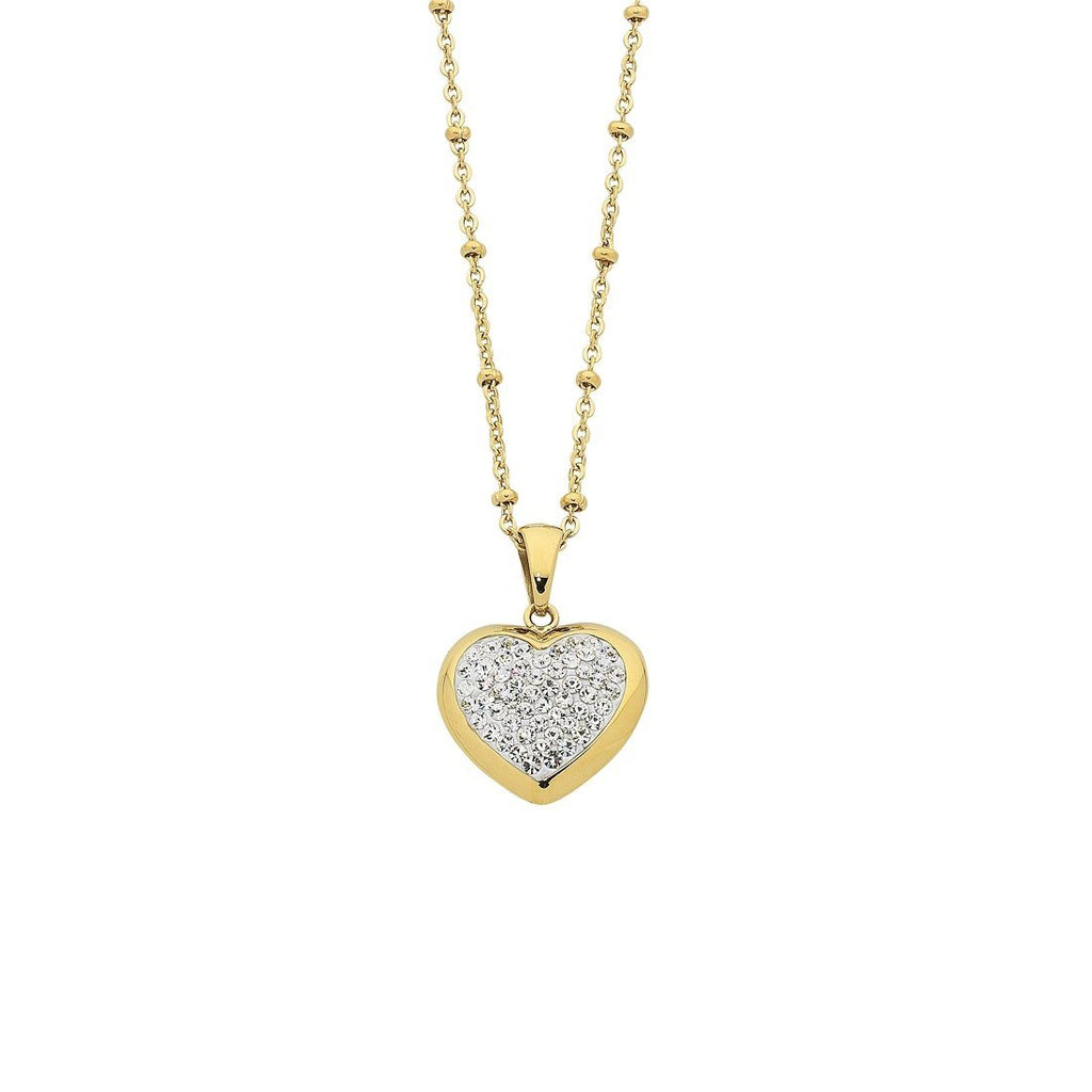 Yellow Stainless Steel Crystal Pave Heart Necklace