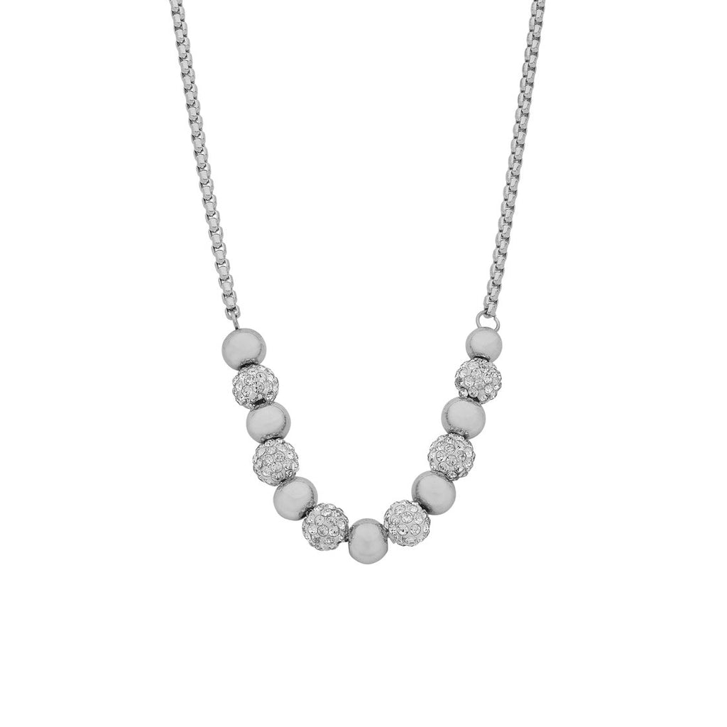 Stainless Steel White 6mm Plain Ball And Pave Ball Necklace