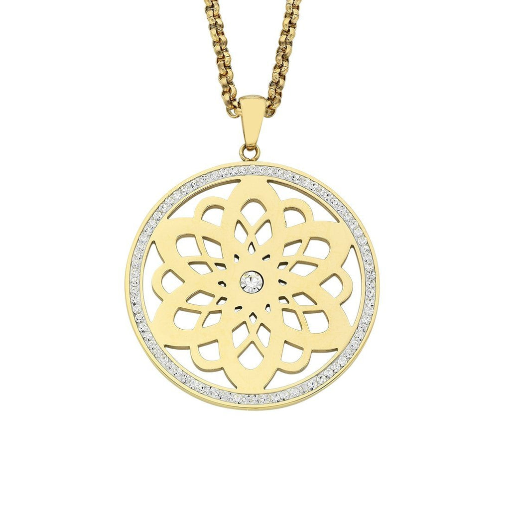 Yellow Stainless Steel Flower Filigree Disc Crystal Necklace