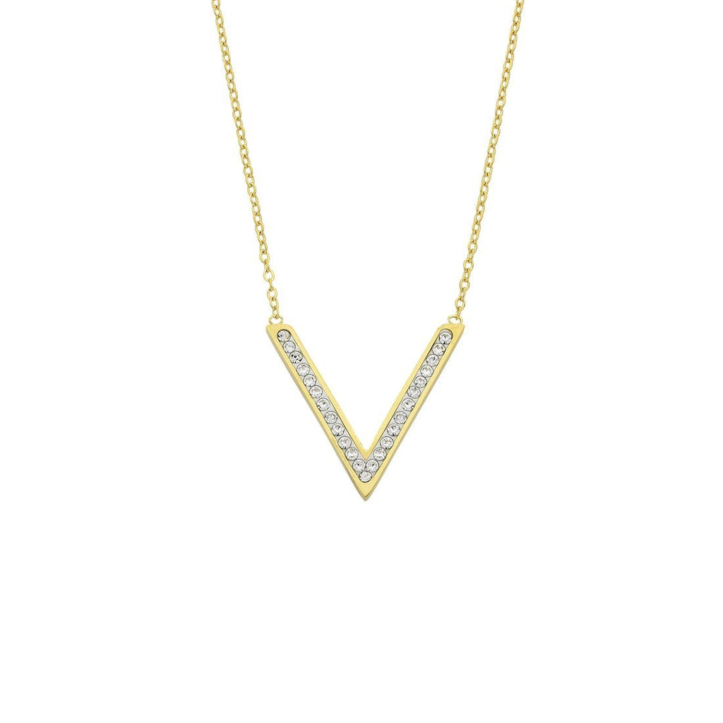 Yellow Stainless Steel Crystal Pave V Necklace Necklaces Bevilles