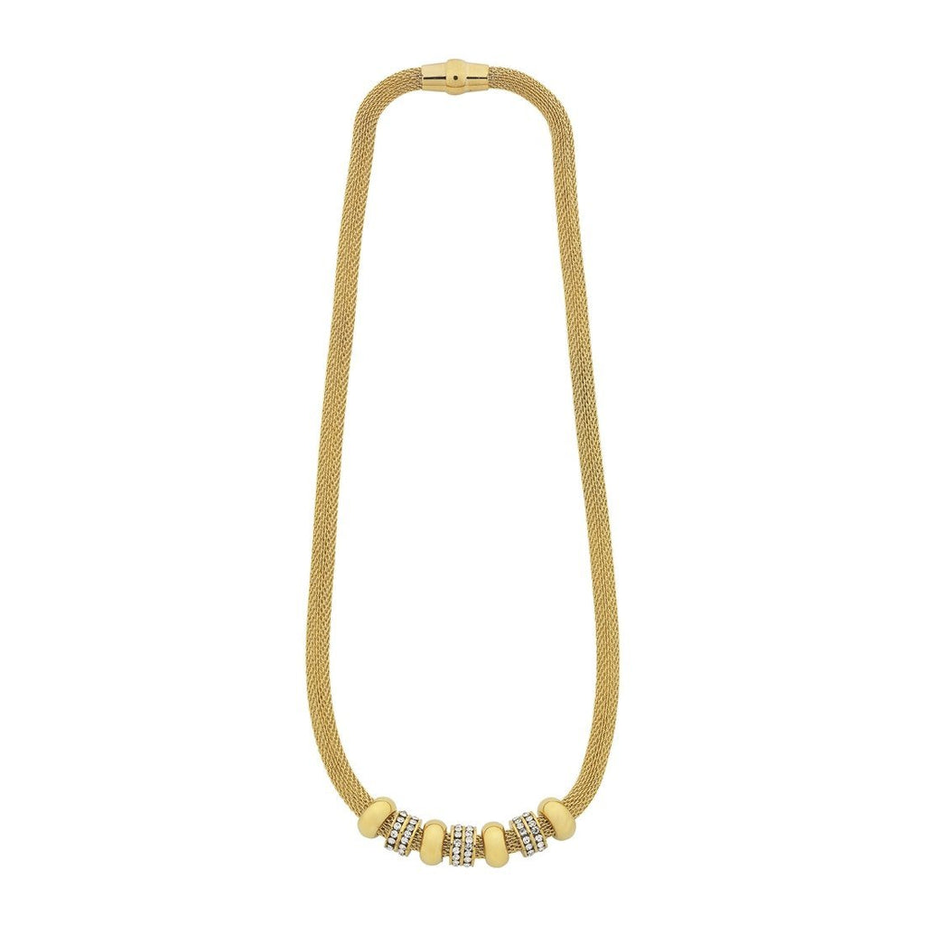 Stainless Steel Yellow Gold Crystal Mesh Necklace Necklaces Bevilles