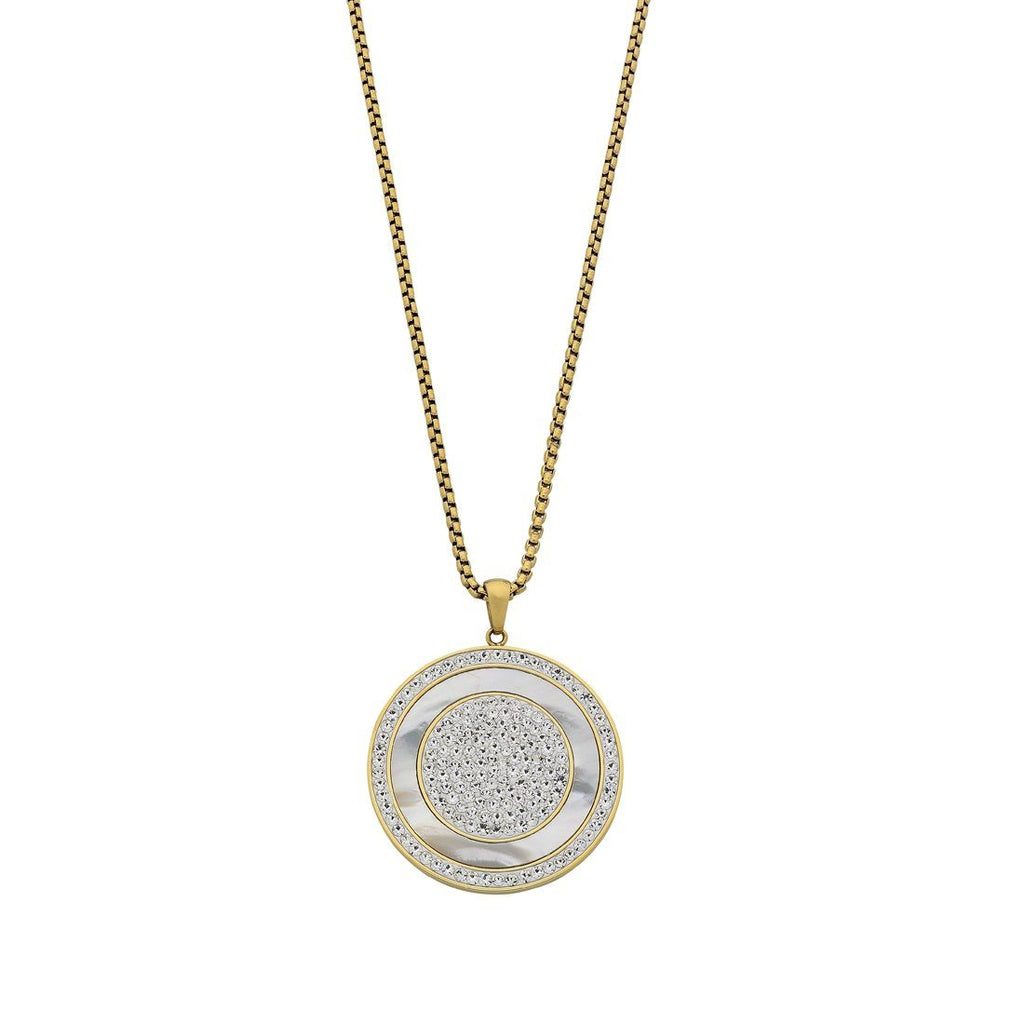 Stainless Steel Yellow Mother of Pearl Disc Necklace