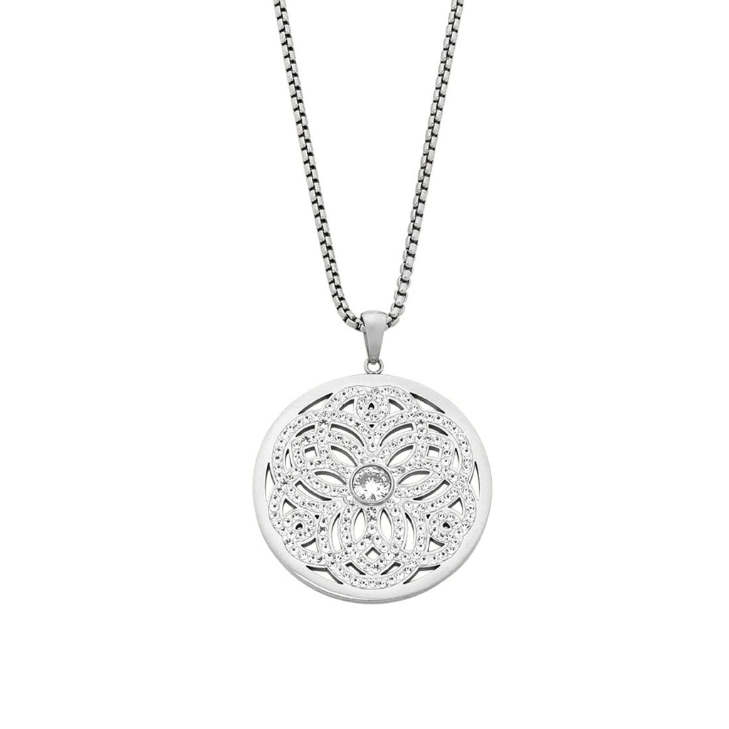 Stainless Steel Crystal Filigree Necklace Necklaces Bevilles