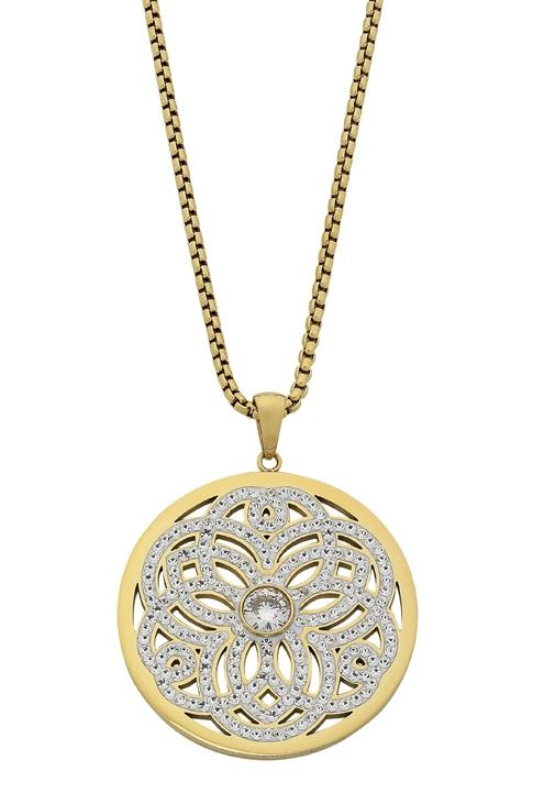 Stainless Steel Yellow Gold Filigree Crystal Necklace Necklaces Bevilles