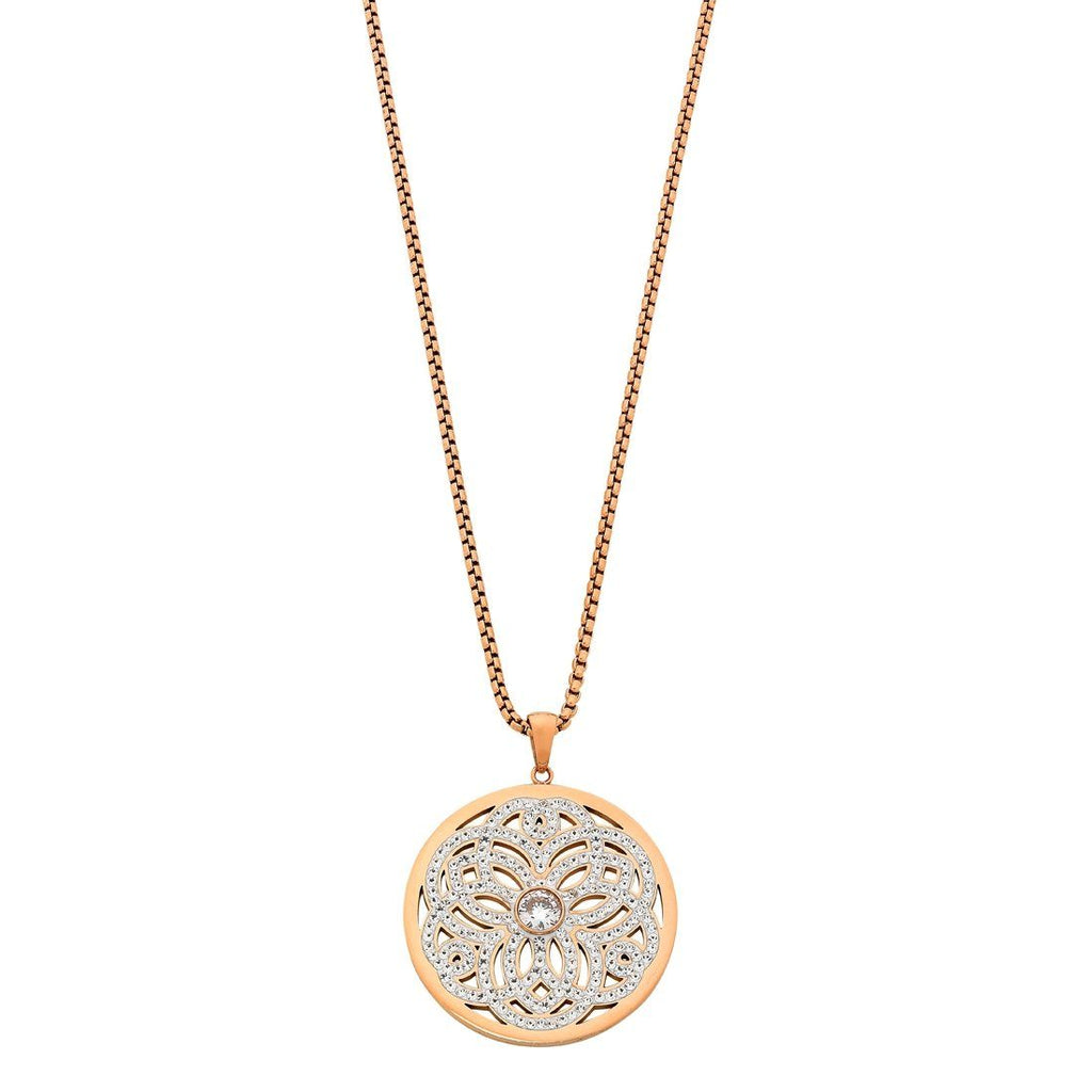 Stainless Steel Rose Crystal Filigree Necklace Necklaces Bevilles