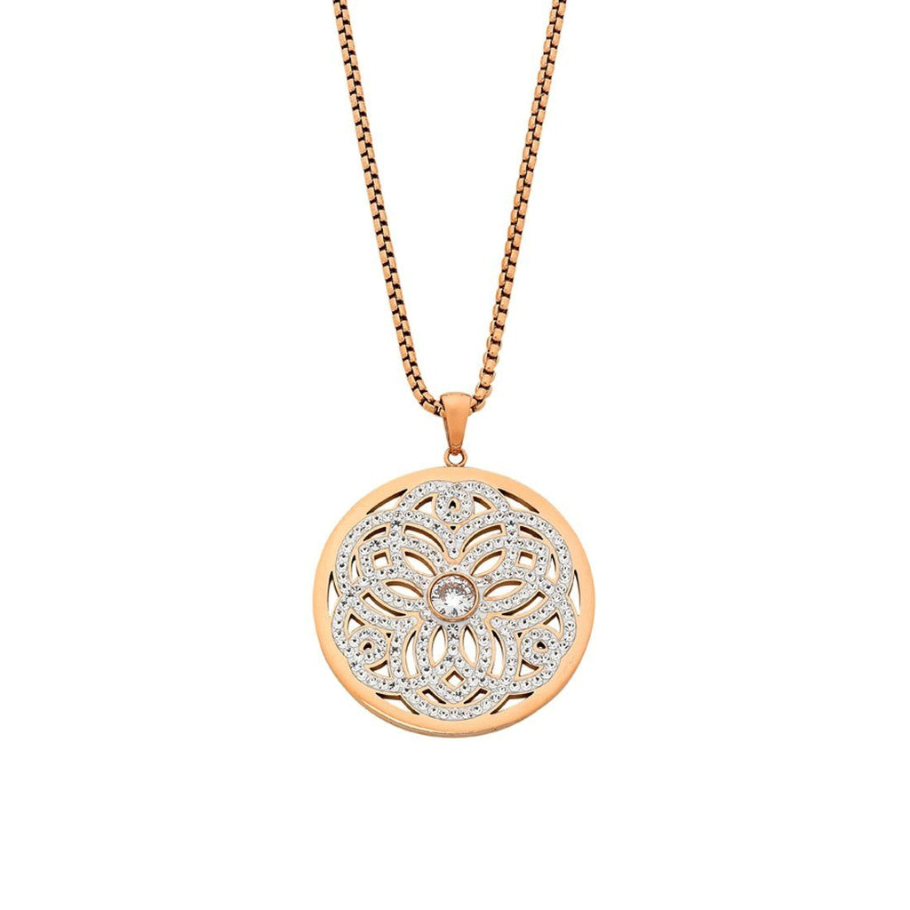Stainless Steel Rose Crystal Filigree Necklace