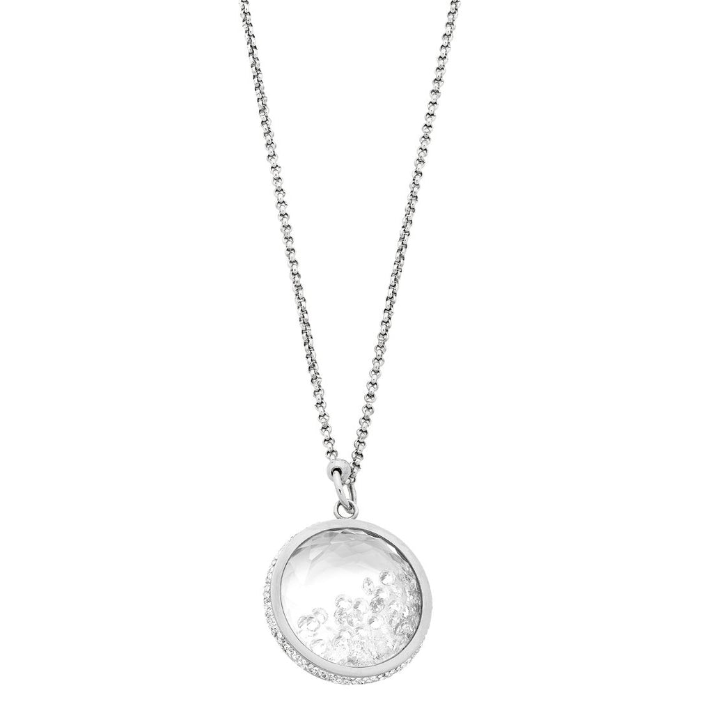 Stainless Steel Crystal Locket Necklace
