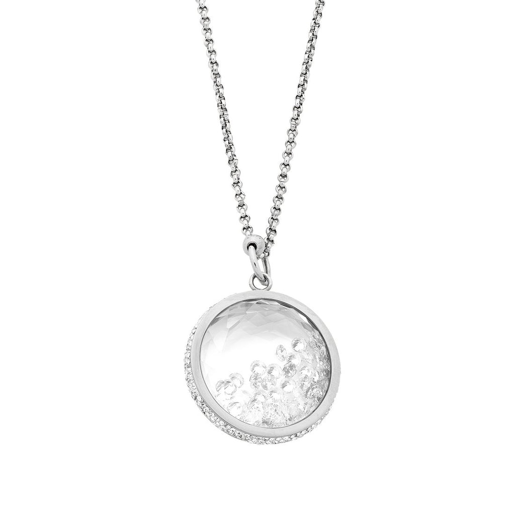 Stainless Steel Crystal Locket Necklace Necklaces Bevilles