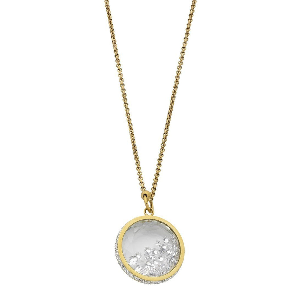 Stainless Steel Yellow Gold Crystal Locket Necklace