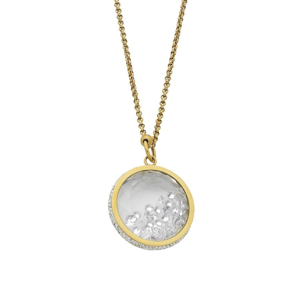 Stainless Steel Yellow Gold Crystal Locket Necklace Necklaces Bevilles