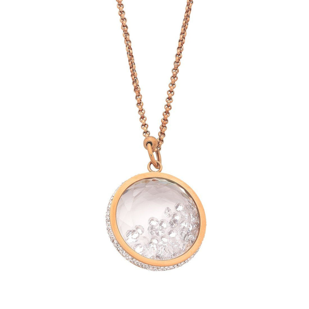Stainless Steel Rose Crystal Locket Necklace Necklaces Bevilles