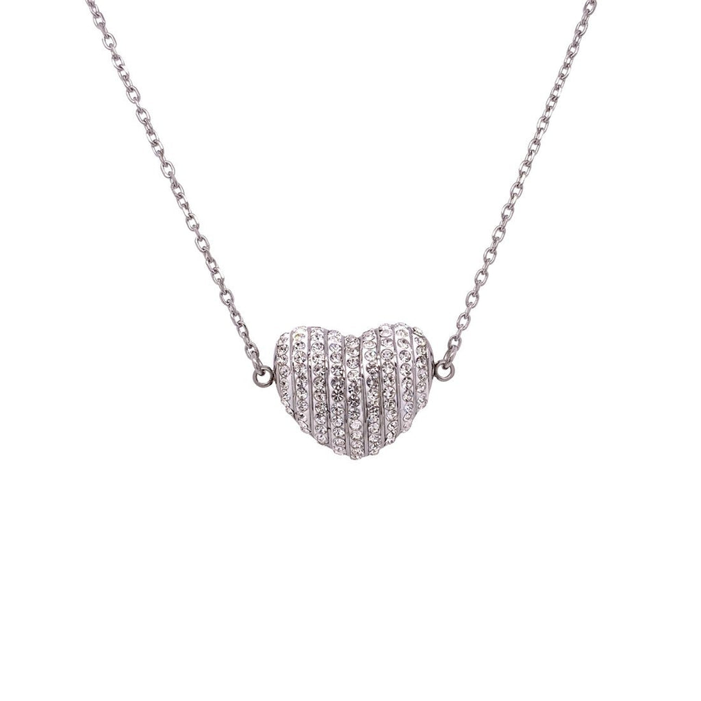 Stainless Steel Pave Crystal Puff Heart Necklace