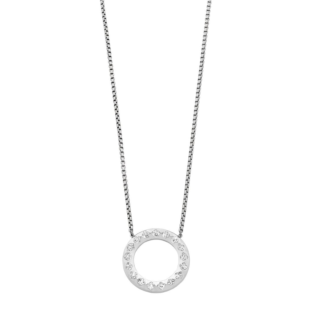 Stainless Steel Open Circle Crystal Pave Necklace Necklaces Bevilles