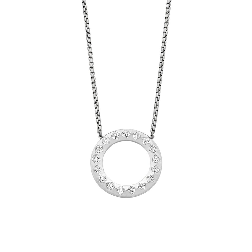 Stainless Steel Open Circle Crystal Pave Necklace