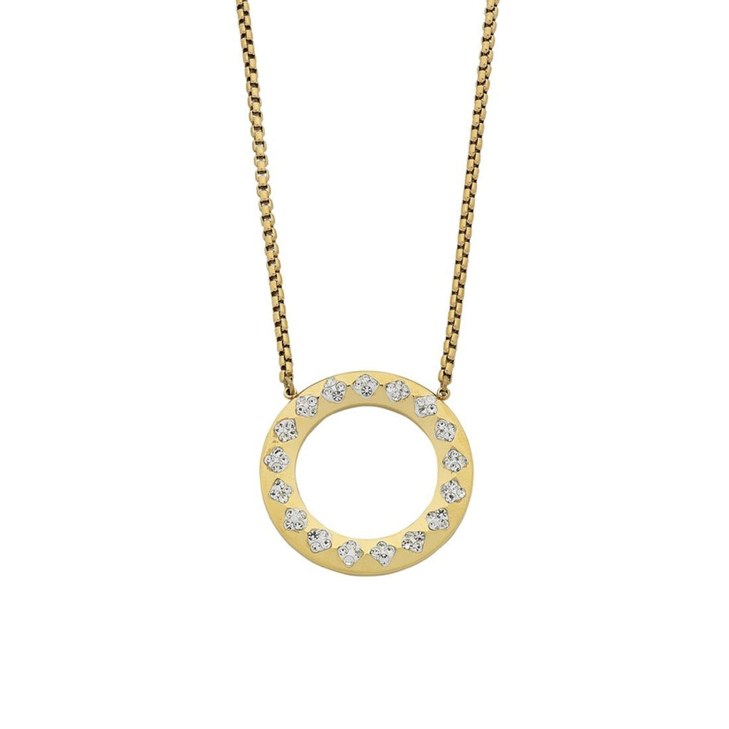 Stainless Steel Yellow Open Circle Crystal Pave Necklace Necklaces Bevilles