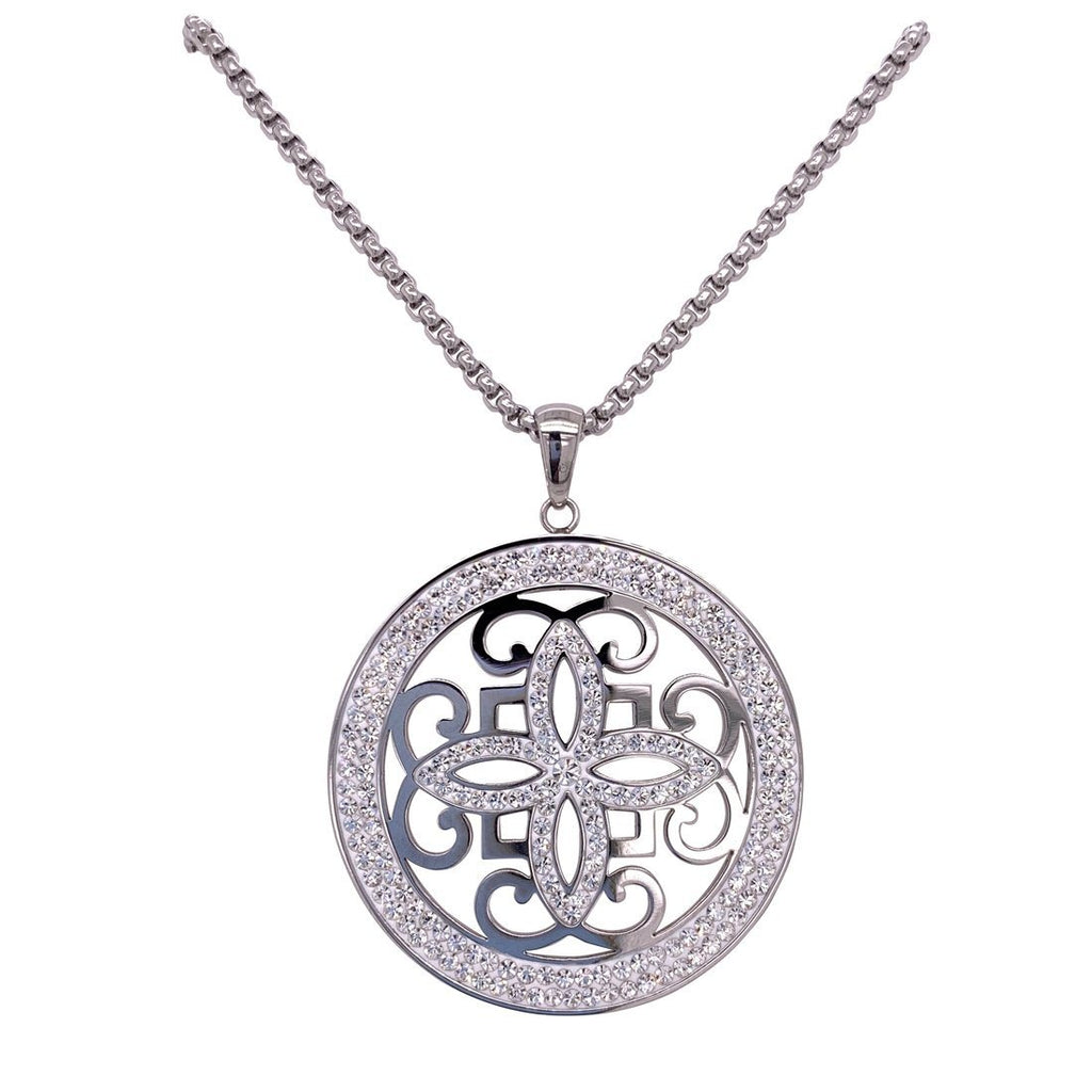 Stainless Steel Pave Crystal Disc Necklace Necklaces Bevilles
