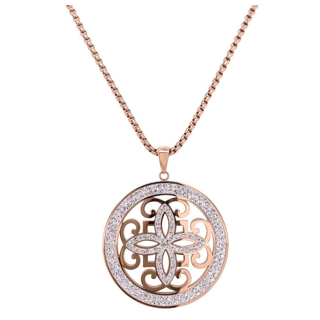 Rose Stainless Steel Pave Crystal Disc Necklace