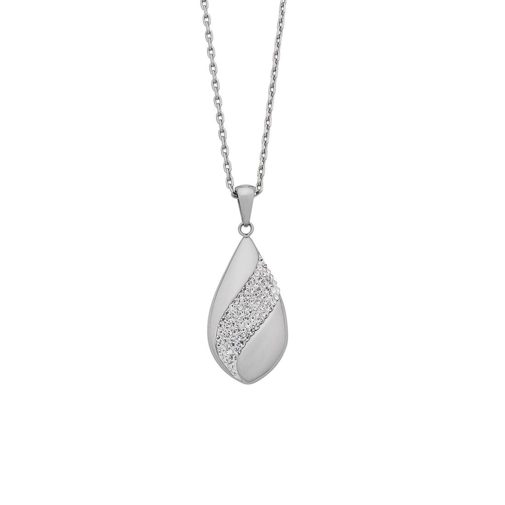 Stainless Steel Pave Crystal Teardrop Necklace