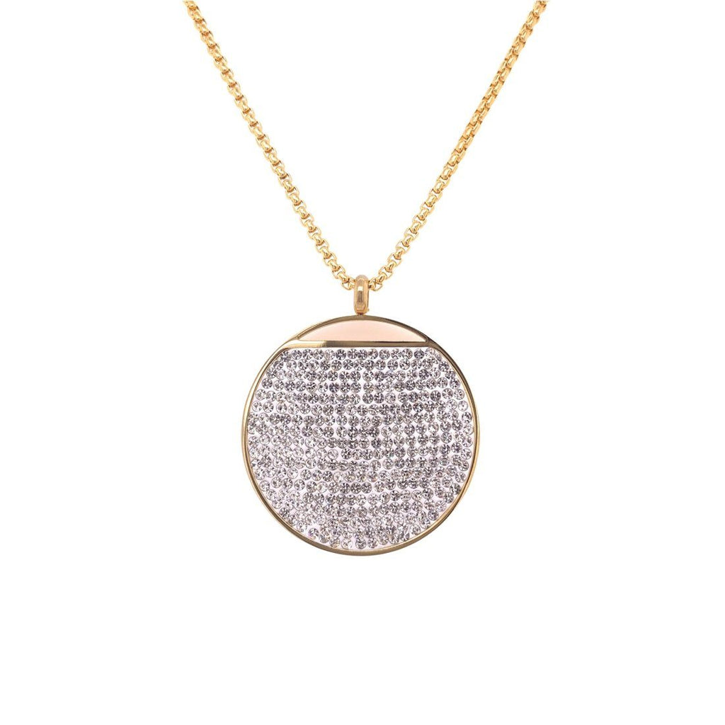 Yellow Stainless Steel Pave Crystal Disc Necklace