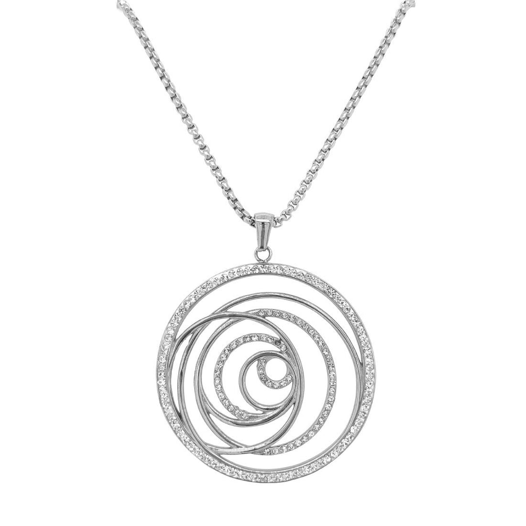Stainless Steel Crystal Open Swirl Necklace Necklaces Bevilles