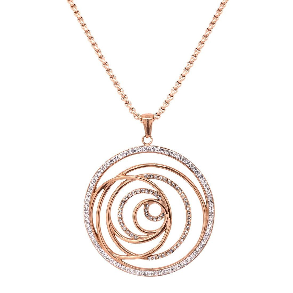 Rose Stainless Steel Crystal Open Swirl Necklace