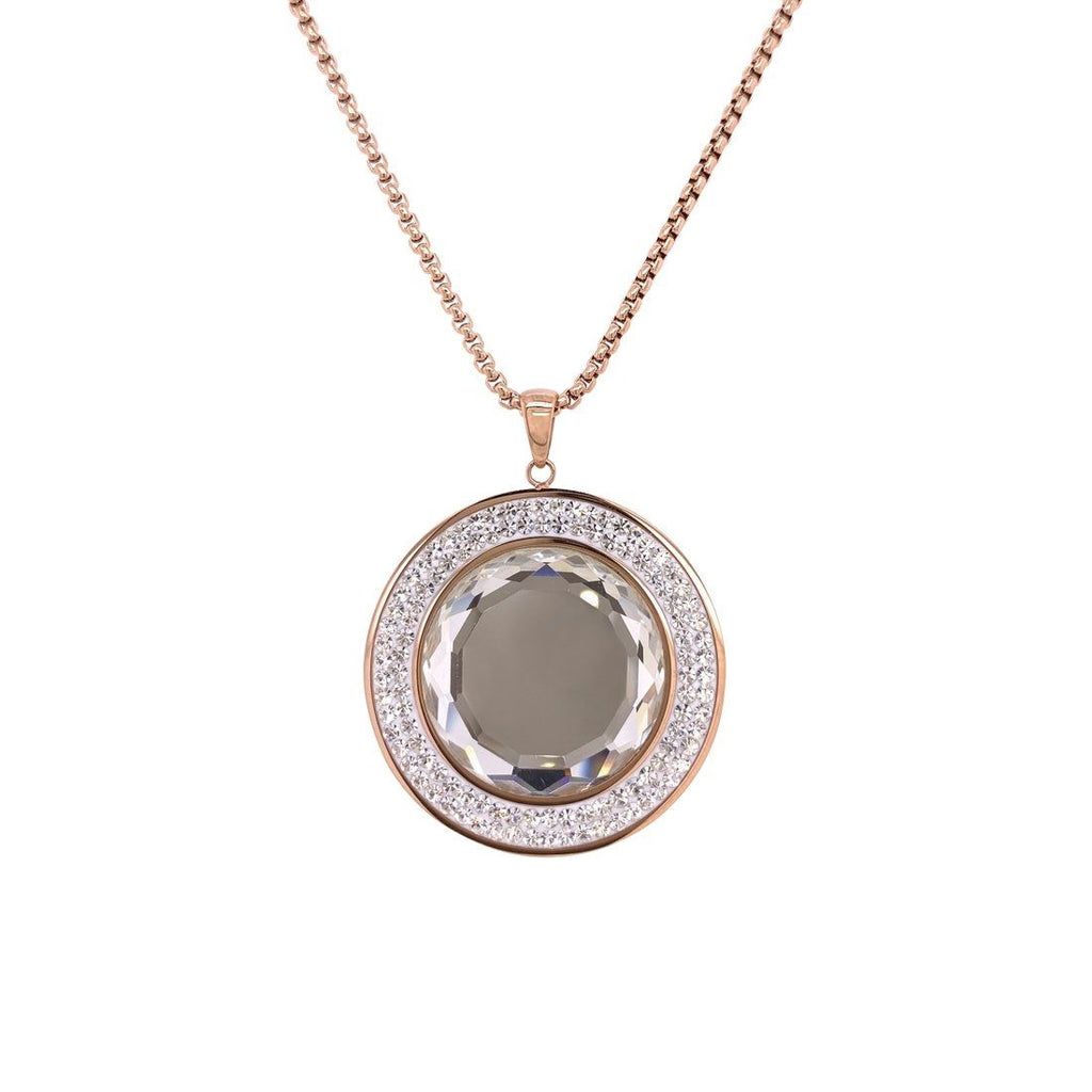 Rose Stainless Steel Crystal Necklace Necklaces Bevilles