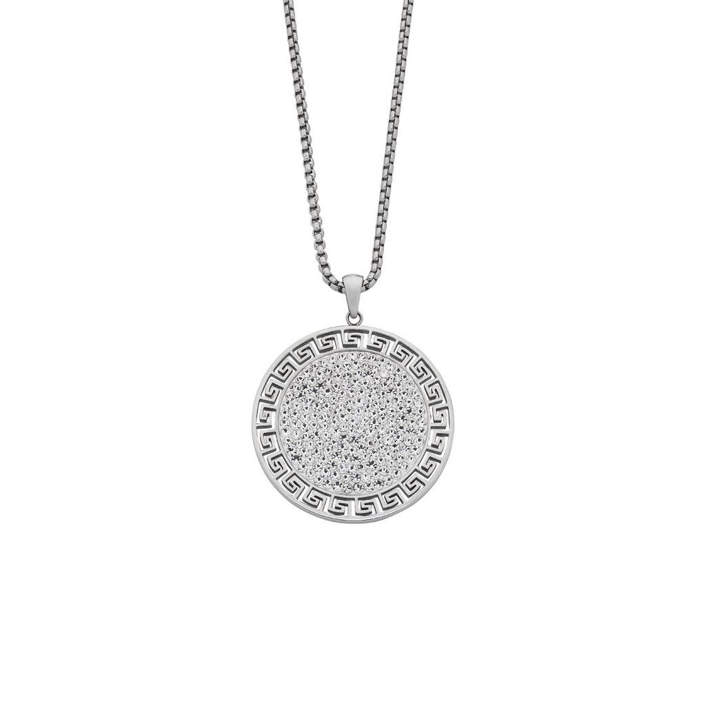 Stainless Steel Crystal Greek Patter Disc Necklace