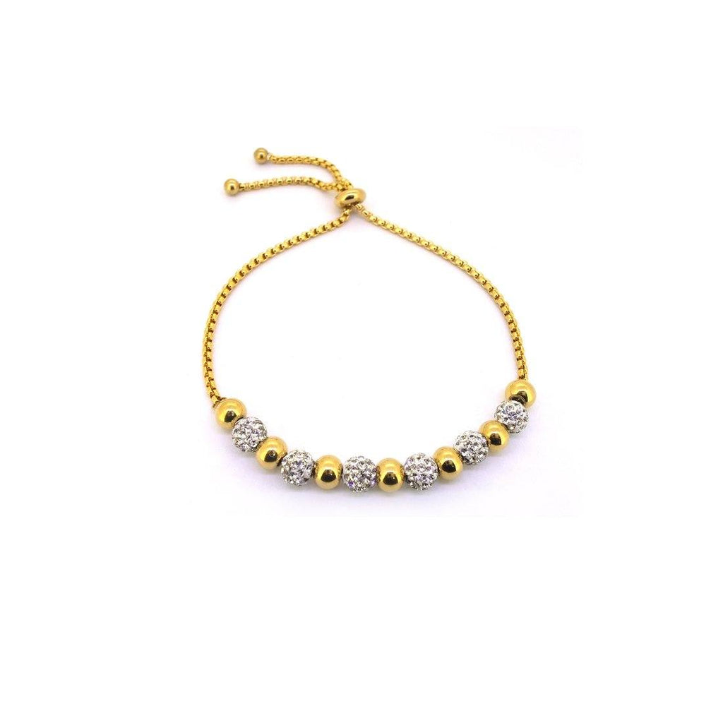 Stainless Steel Yellow and Crystal Pave Bolo and Plain Ball Bracelet Bracelets Bevilles