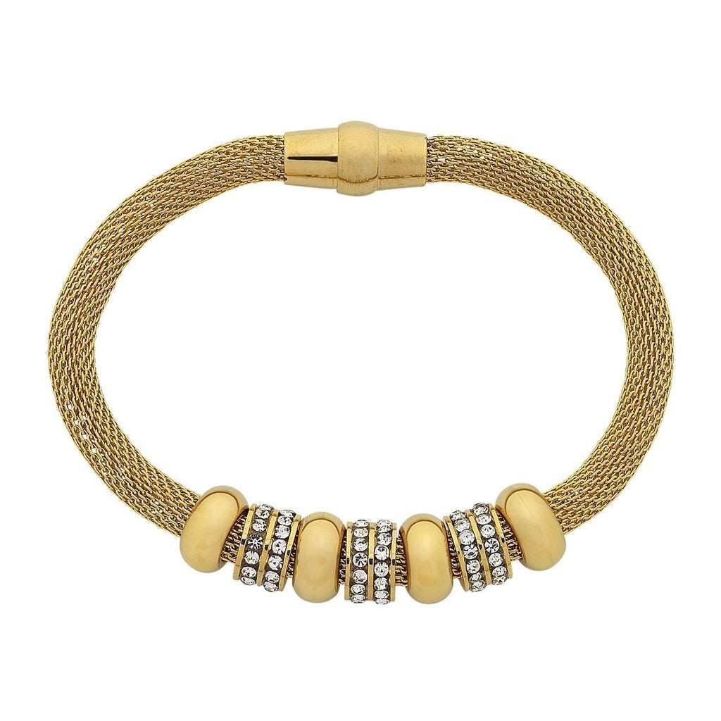 Stainless Steel Yellow Gold Crystal Mesh Bracelet