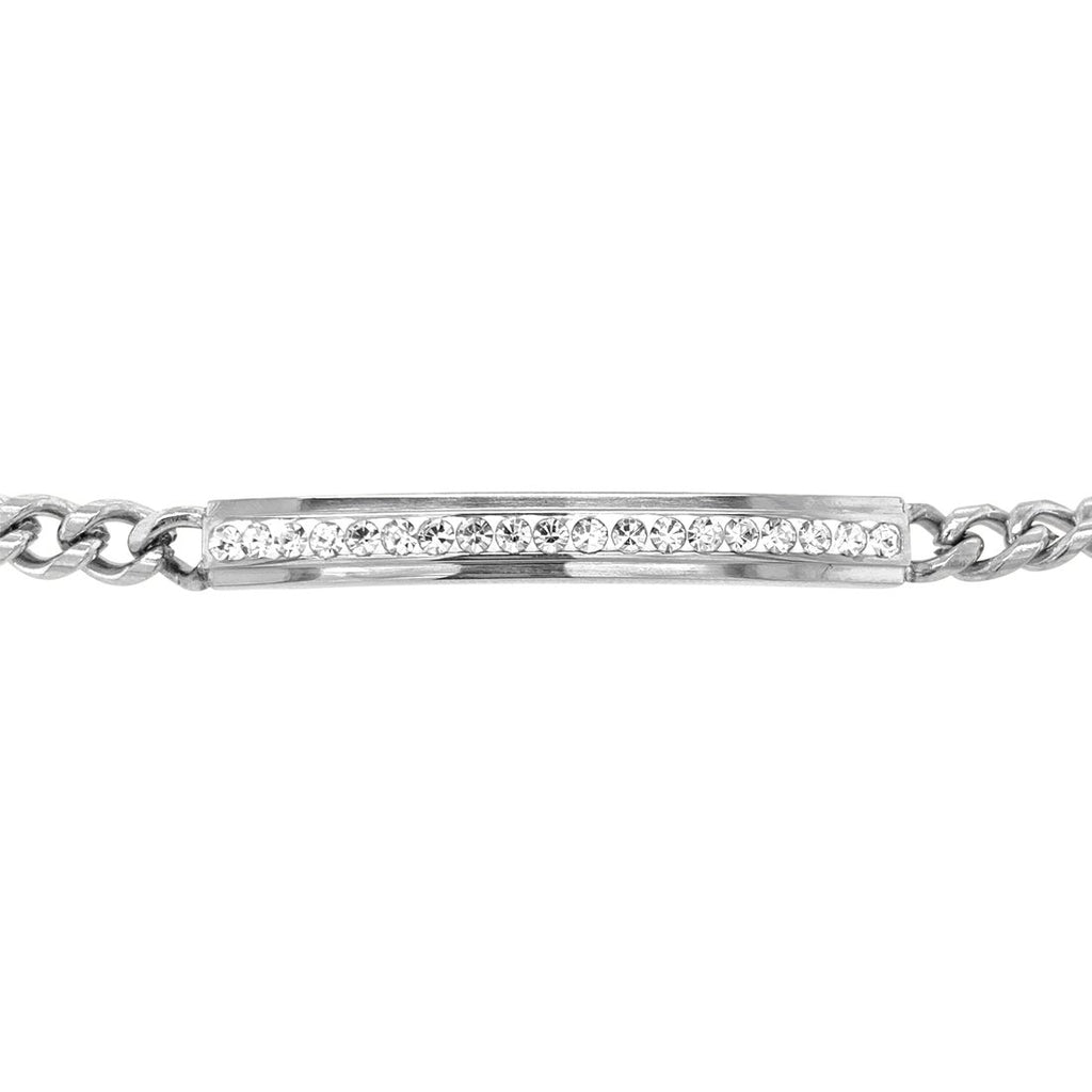 Stainless Steel Crystal ID Bracelet