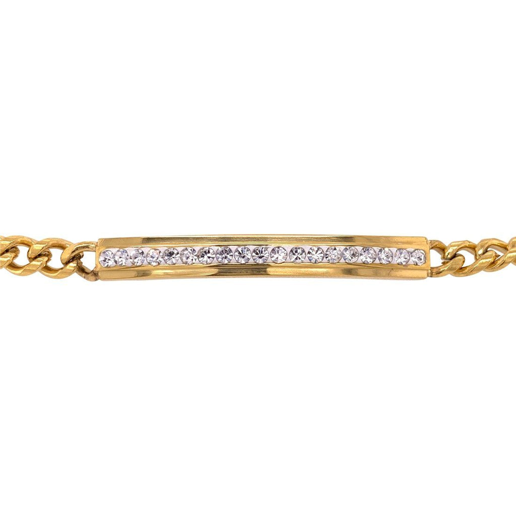 Stainless Steel Yellow Crystal ID Bracelet