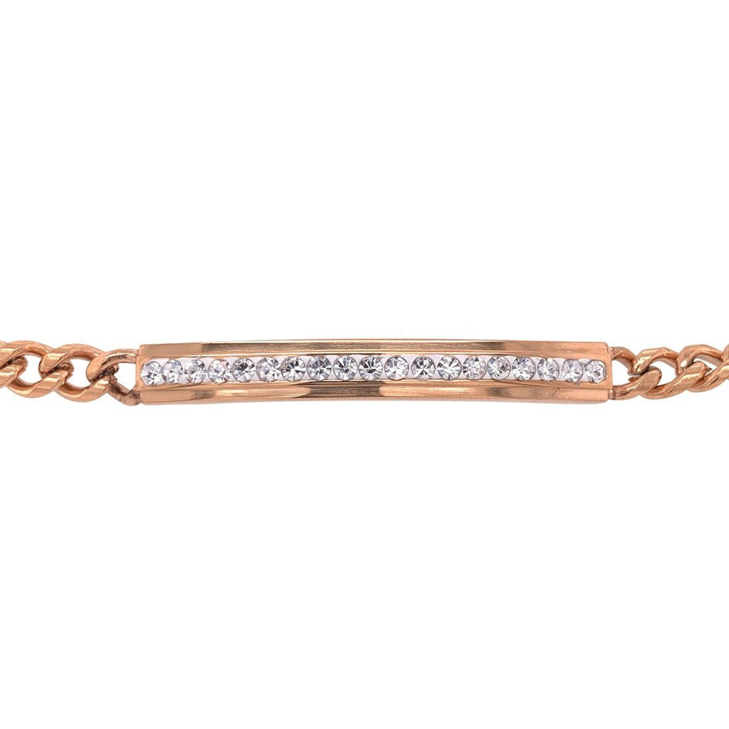Stainless Steel Rose Crystal ID Bracelet