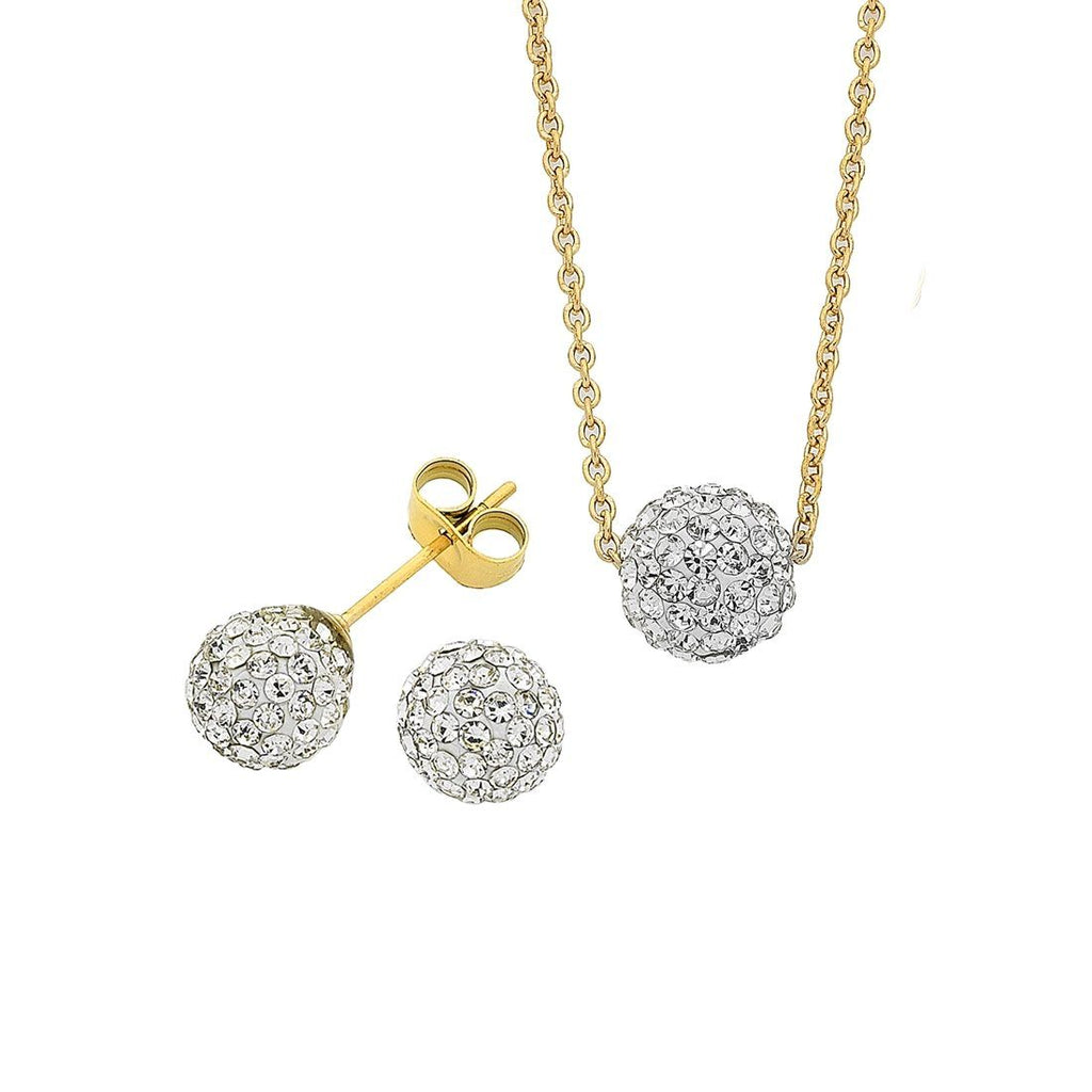 Stainless Steel Yellow with White Crystal Necklace And Stud Earring Set Earrings Bevilles