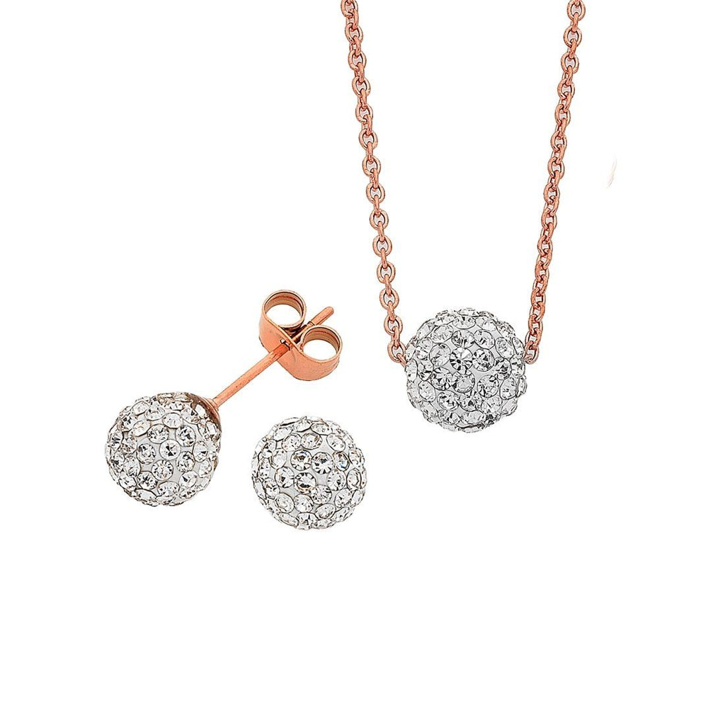 Stainless Steel Rose with White Crystal Necklace And Stud Earring Set