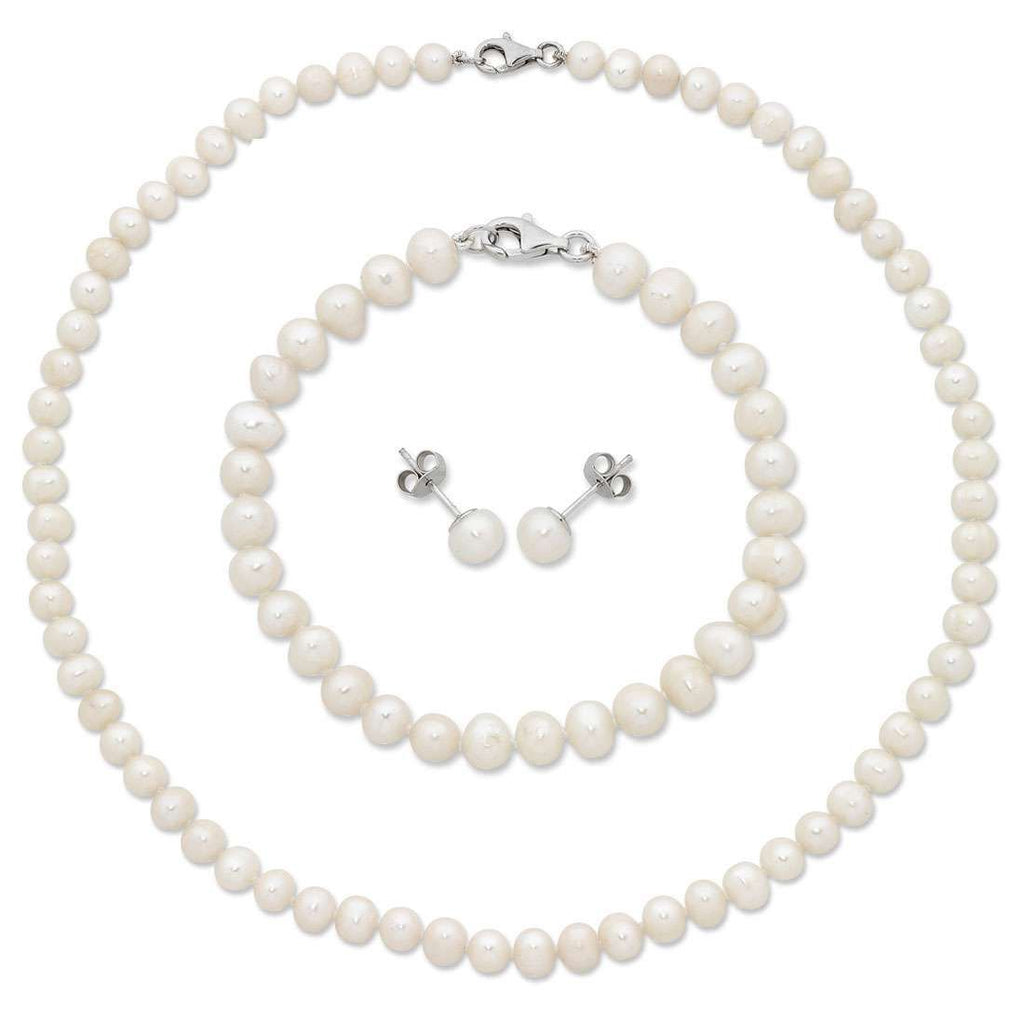 Sterling Silver White Freshwater Pearl Necklace, Bracelet and Earring Set