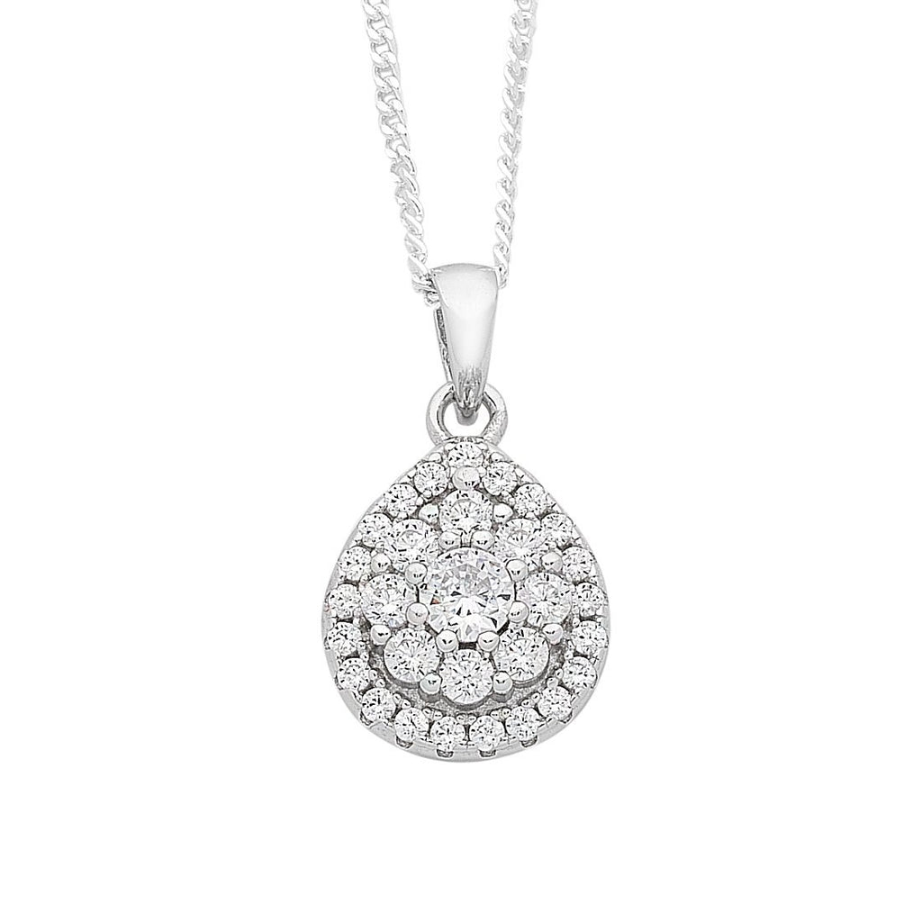 Sterling Silver Cubic Zirconia Pear Halo Necklace Necklaces Bevilles