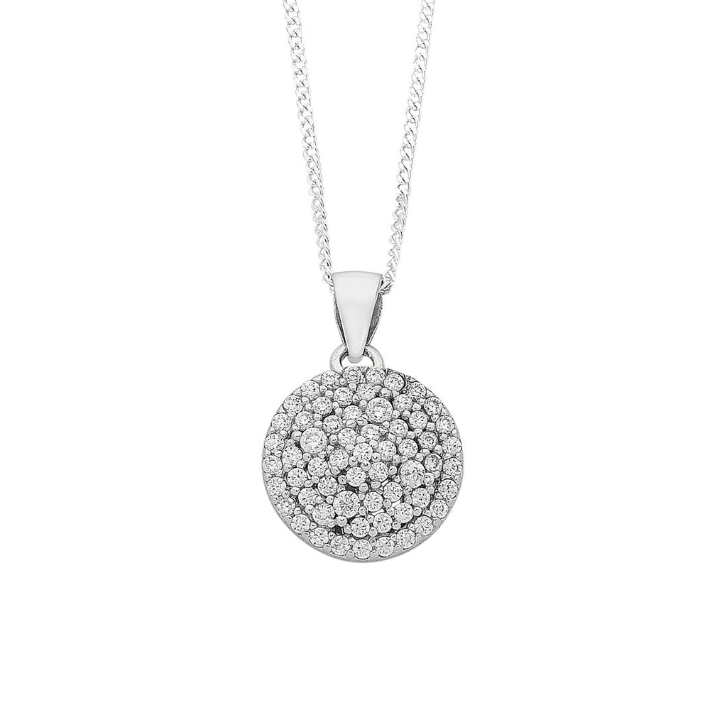 Sterling Silver Cubic Zirconia Cluster Necklace Necklaces Bevilles