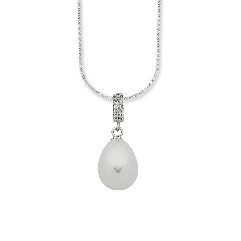 Silver Synthetic Pearl Drop Necklace