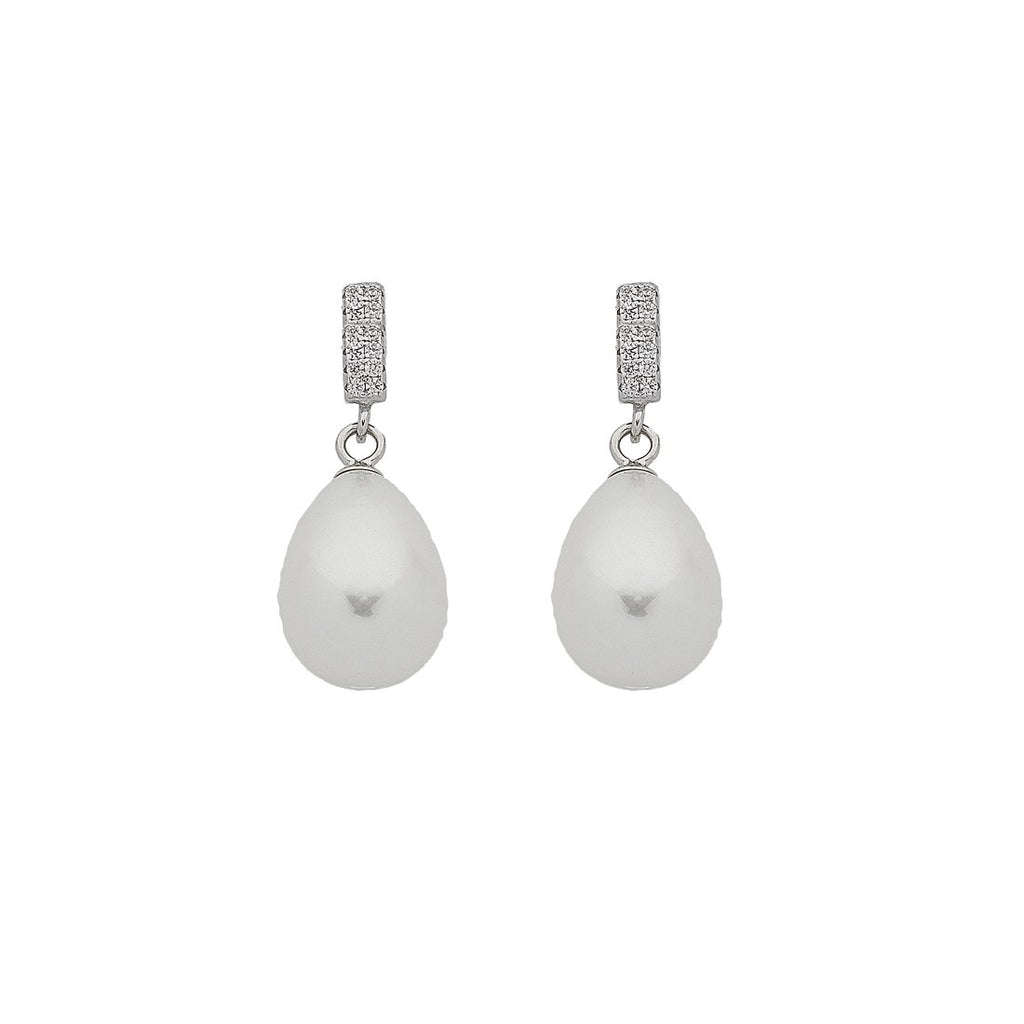 Silver Synthetic Pearl Drop Earrings
