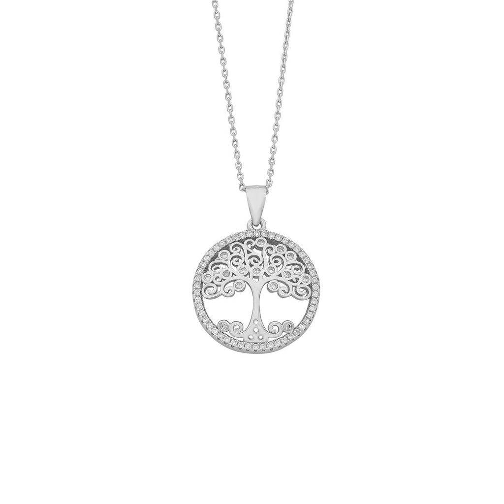 Sterling Silver Cubic Zirconia Tree of Life Necklace Necklaces Bevilles