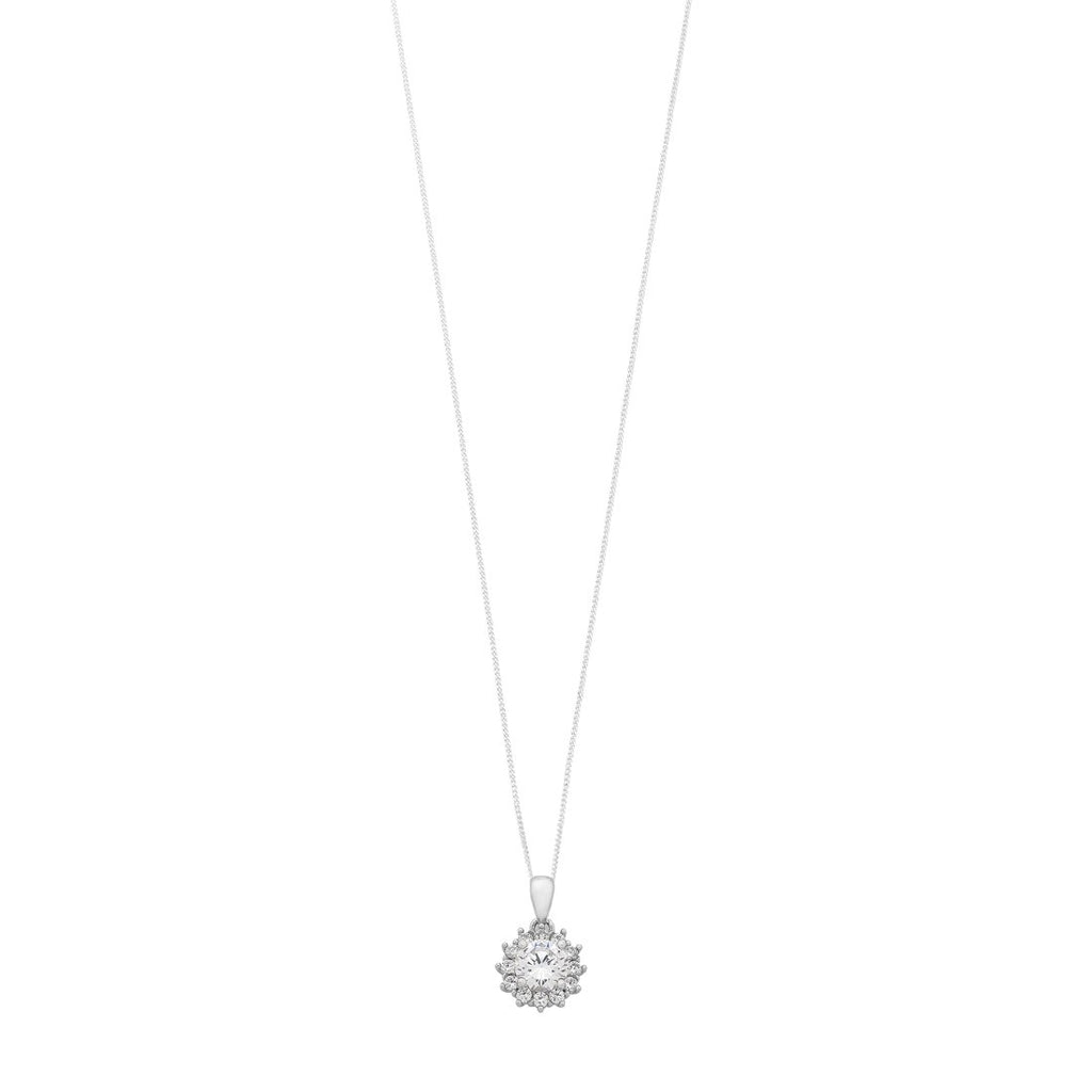 Sterling Silver Cubic Zirconia Halo Surround Necklace Necklaces Bevilles