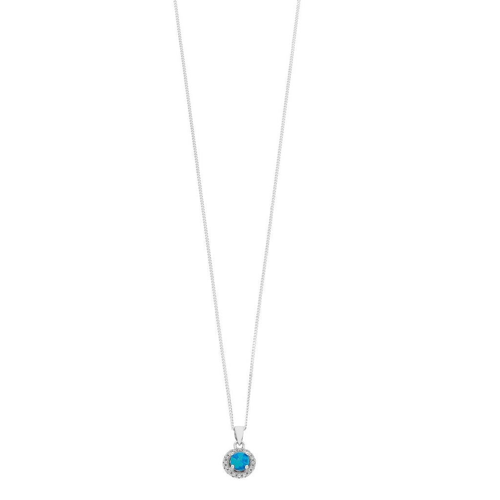 Sterling Silver Round Synthetic Blue Opal Necklace Necklaces Bevilles