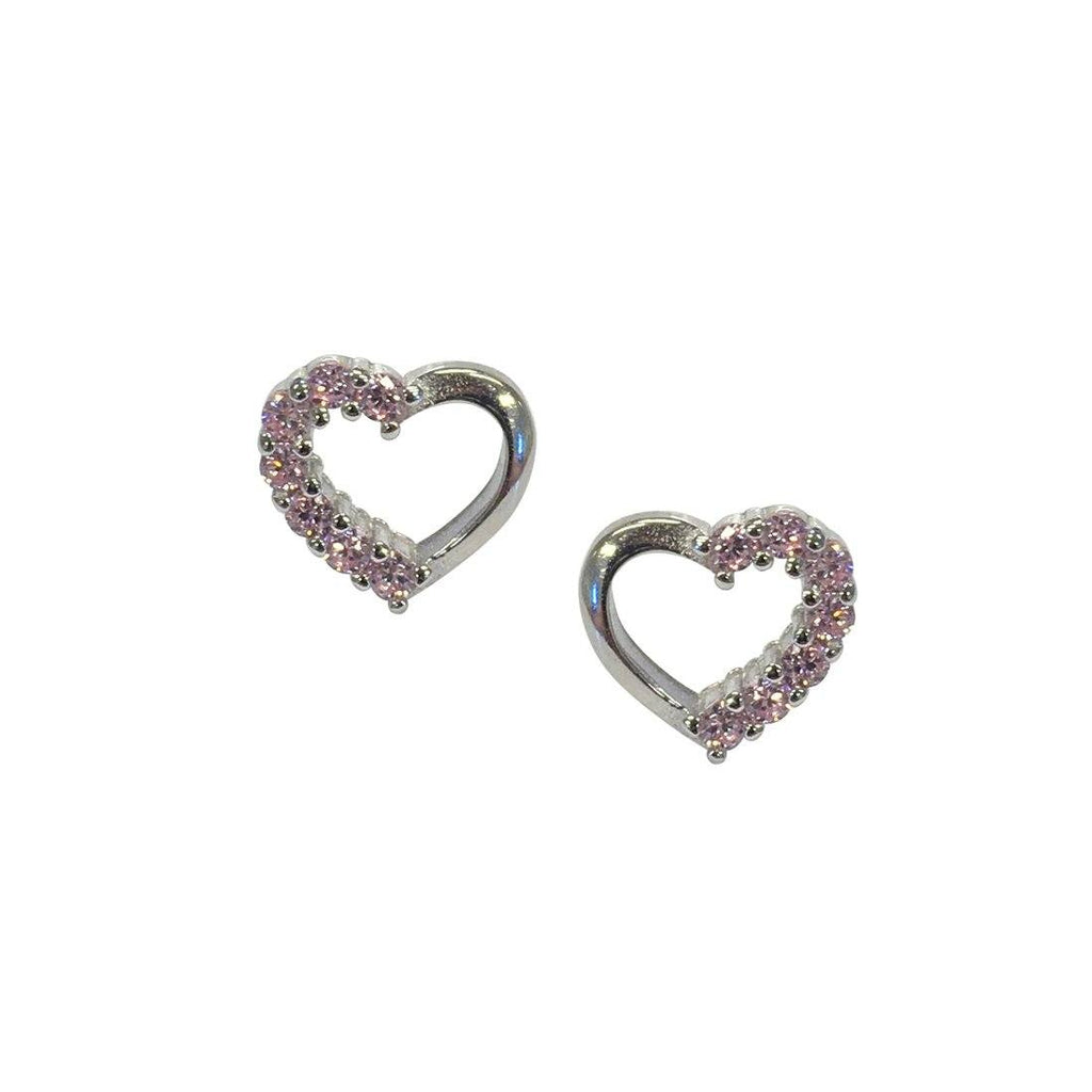 Sterling Silver Pink Cubic Heart Stud Earrings