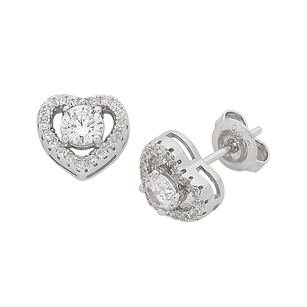 Sterling Silver Cubic Zirconia Heart Halo Stud Earrings Earrings Bevilles