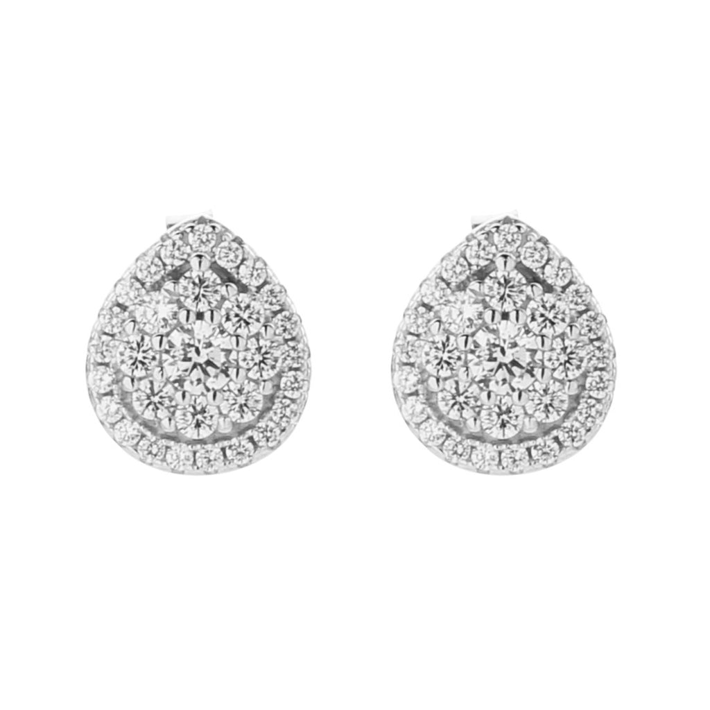 Sterling Silver Cubic Zirconia Pear Halo Earrings Earrings Bevilles